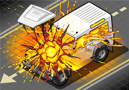 Detailed illustration of a Isometric White Cross Country Vehicle in Explosion in front view Vector