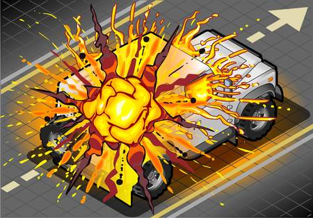 cross country: Detailed illustration of a Isometric White Cross Country Vehicle in Explosion in rear view Illustration