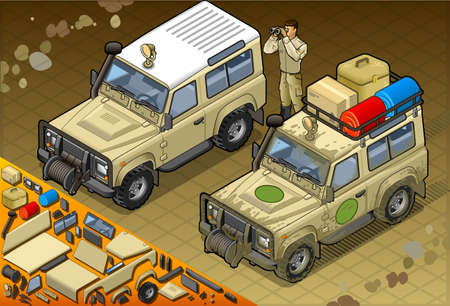 desert road: Detailed illustration of a Isometric Safari Jeep with guide in front view Illustration