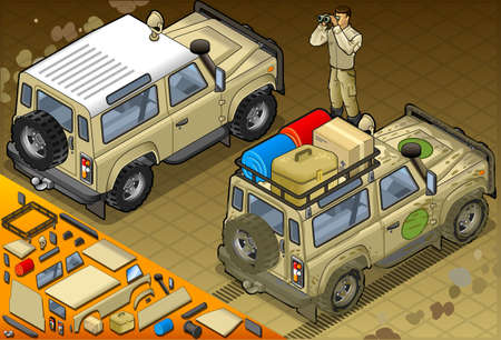 Detailed illustration of a Isometric Safari Jeep with guide in rear view Vector