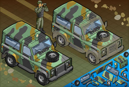 patrolman: Detailed illustration of a Isometric Military Jeep with Soldier in front view Illustration