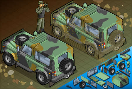 patrolman: Detailed illustration of a Isometric Military Jeep with Soldier in rear view