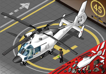 helicopter rescue: Detailed illustration of a Isometric White Helicopter Landed  in front view