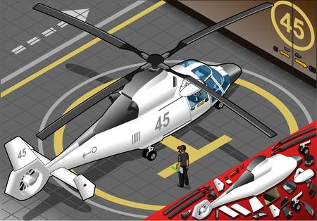 landed: Detailed illustration of a Isometric White Helicopter Landed in rear view