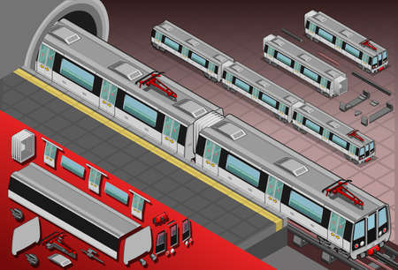 Detailed illustration of a isometric metro wagons in the station Illustration