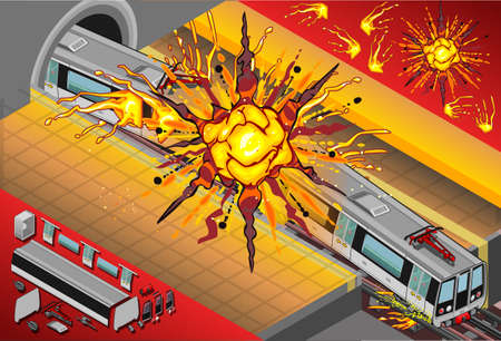 Gedetailleerde weergave van een isometrisch Metro Wagons Exploded in het Station Stockfoto - 20753103