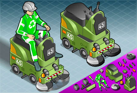 crawlers: Detailed illustration of a Isometric Mini Cleaner Machine with Man at Work om front view Illustration