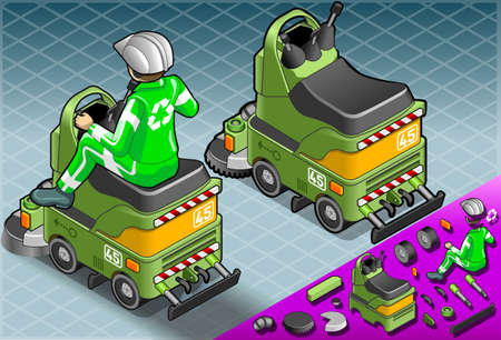 crawlers: Detailed illustration of a Isometric Mini Cleaner Machine with Man at Work in rear view