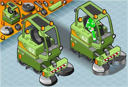 leverage: Detailed illustration of a Isometric Mini Cleaner Machine with Man at Work in Front view