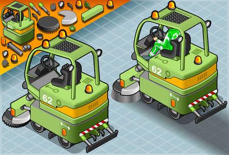 spazzatrice: Illustrazione dettagliata di un isometrica Mini Macchina Cleaner con l'uomo al lavoro in vista posteriore Vettoriali