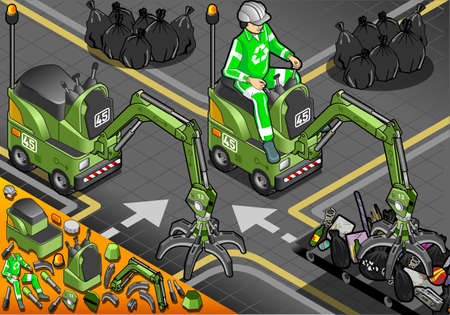 crawlers: Detailed illustration of a Isometric Mini Mechanical Arm Machine with Man at Work in front view Illustration