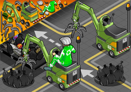 crawlers: Detailed illustration of a Isometric Mini Mechanical Arm Machine with Man at Work in rear view Illustration