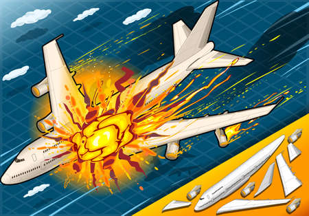 detailed illustration of a Isometric Explosion of Airplane Falling Down Vector