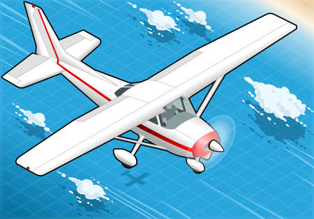 cessna: Detailed illustration of a Isometric White Plane in Flight in Front View