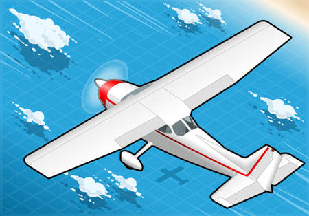 Detailed illustration of a Isometric White Plane in Flight in Rear view Vector