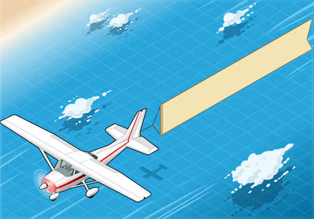 vintage airplane: Detailed illustration of a Isometric White Plane in Flight with Aerial Banner in Front View