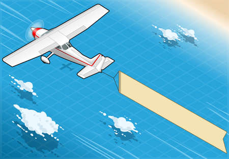 Detailed illustration of a Isometric White Plane in Flight with Aerial Banner in Rear View Vector