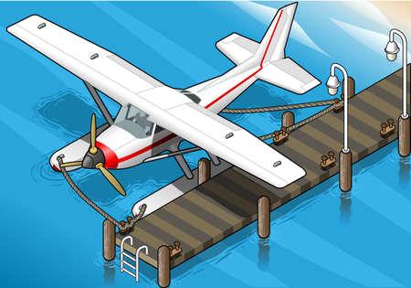 coast guard: ilustraci�n detallada de un hidroavi�n isom�trica Amarrado en el Pierin Front View Vectores
