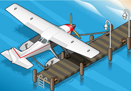 detailed illustration of a Isometric Seaplane Moored at the Pier in Rear View Vector