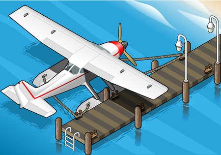 coast guard: ilustraci�n detallada de un hidroavi�n isom�trica Amarrado en el muelle en Vista posterior Vectores