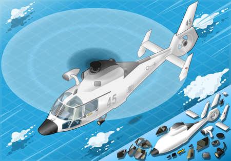 coast guard: Ilustraci�n detallada de un helic�ptero blanco isom�trico en vuelo en la vista frontal