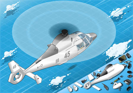 helicopter rescue: Detailed illustration of a Isometric White Helicopter in Flight in Rear View