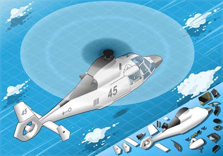 coast guard: Ilustraci�n detallada de un helic�ptero blanco isom�trico en vuelo en Vista posterior Vectores