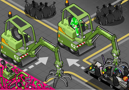 crawlers: Detailed illustration of a Isometric Mini Mechanical Arm Machine with Man at Work