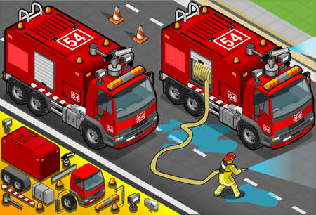 fire water: Detailed illustration of a Isometric Firefighter Tank Truck in Front View Illustration