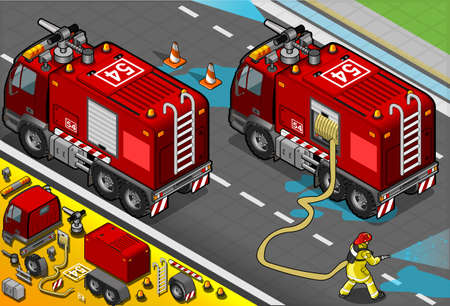 departments: Detailed illustration of a Isometric Firefighter Tank Truck in Rear View Illustration