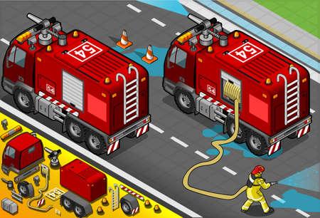 pracoviště: Podrobné ilustrace Isometric Firefighter cisterna na pohled zezadu