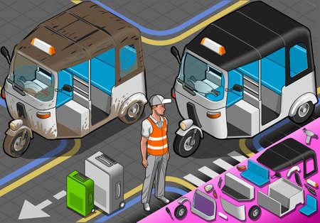 tuk tuk: Detailed illustration of a Isometric White Covered Rickshaw in Front View Illustration