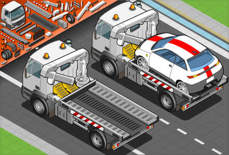 tow: Isometric Tow Truck in Car Assistance in Rear View Illustration