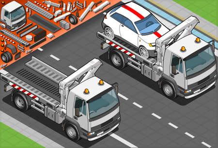 Dépanneuse isométrique dans l'assistance automobile Banque d'images - 20956486