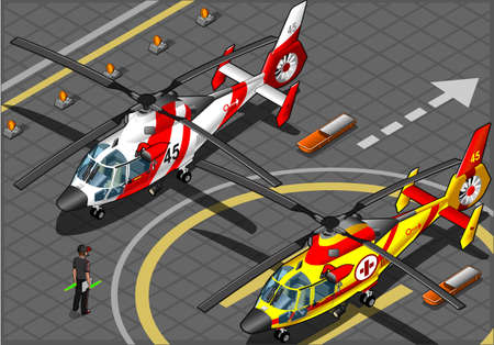 helicopter rescue: Isometric Emergency Helicopters in Front View