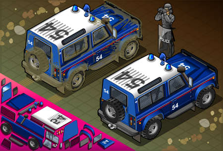 off road: Isometric Police Off Road Vehicle in Rear View