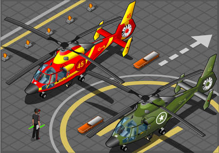 helicopter pilot: Isometric Emergency and Military Helicopters in Front View