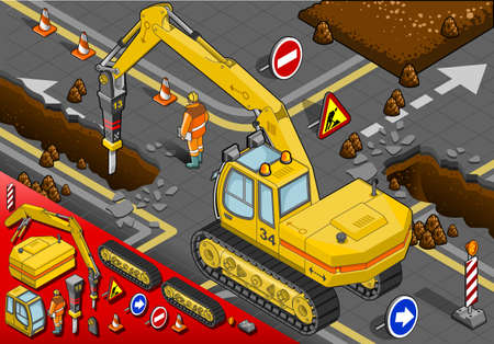earth mover: Isometric Chisel Excavator in Rear View with Man at Work