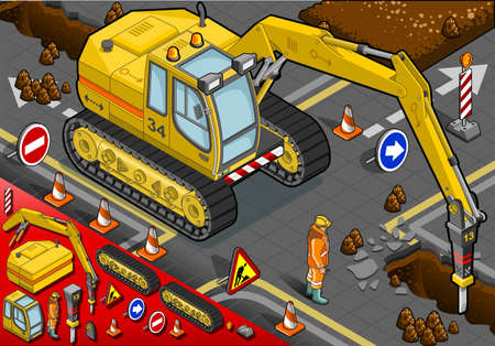 earth mover: detailed illustration of a isometric chisel excavator in Front View with Man at Work Illustration