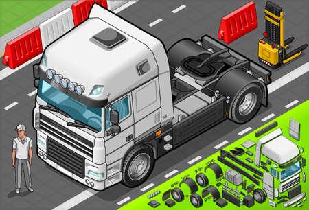 convoy: Illustrazione dettagliata di un carro attrezzi isometrica solo cabina in vista frontale