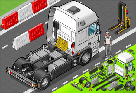 freightliner: Detailed illustration of a Isometric Tow Truck Only Cab in Rear View