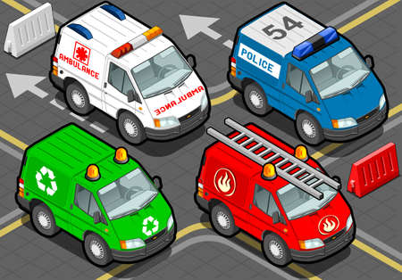 garbage collector: Ilustraci�n detallada de un Camiones isom�tricos bomberos, polic�a, ambulancia, colector de basura en la vista frontal Vectores