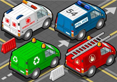 recolector de basura: Ilustraci�n detallada de un Camiones isom�tricos bomberos, polic�a, ambulancia, colector de basura en Vista posterior Vectores