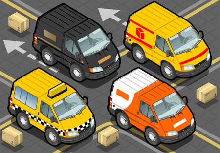 detailed illustration of a Isometric Delivery Trucks And Taxi In Front View Vector