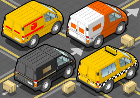 detailed illustration of a Isometric Delivery Trucks And Taxi In Rear View Vector