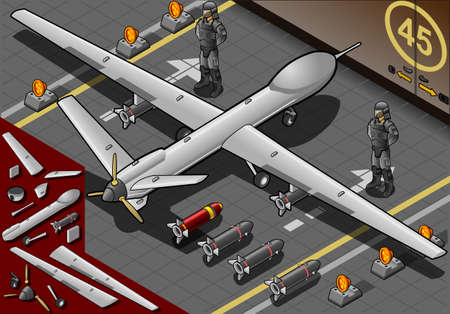 armed force: Detailed illustration of a Isometric Drone Airplane Landed in Rear View with Bombs and Guards Illustration