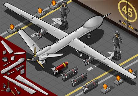 coast guard: Ilustraci�n detallada de un Avi�n Drone isom�trica aterrizado en Vista posterior con bombas y Guardias Vectores