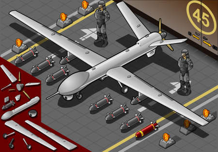 Detailed illustration of a Isometric Drone Airplane Landed with Bombs and Guards in Front View Vector