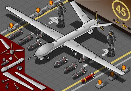 coast guard: Ilustraci�n detallada de un Avi�n Drone isom�trica aterrizado con bombas y guardias en la vista frontal Vectores