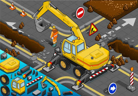 earth mover: Detailed illustration of a Isometric Yellow Excavator with Four Arms in Rear View